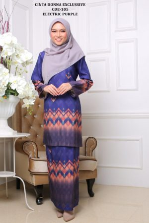baju raya 2020 baju kurung moden ungu electric purple abstrak cde-105